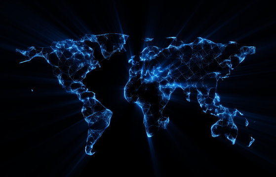 Map of the world connected by glowing blue lines