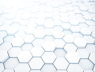 White hexagons, illustration