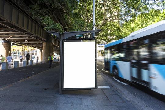 Lightbox advertisement next to the Sydney city bus stop in Australia