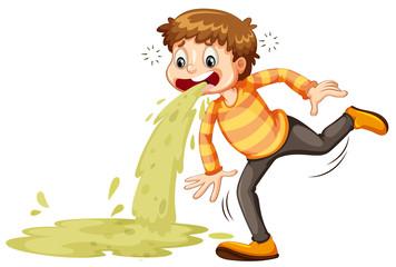 A sick boy vomiting