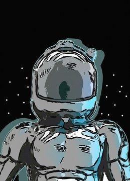 Astronaut in space helmet, illustration