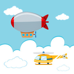 blimp and Helicopter in the sky