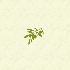 Vector olives and green leaves background.