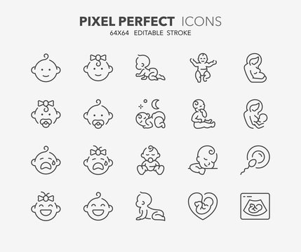 baby thin line icons 1