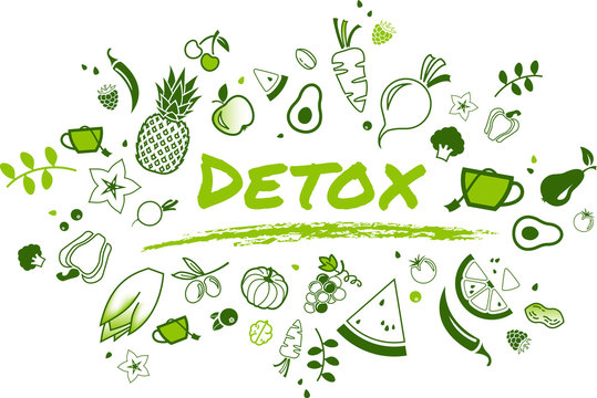 detox concept: healthy and well-balanced food items - vector illustration