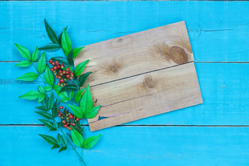 Blank wooden sign with leaves and berries border hanging on antique rustic teal blue background.