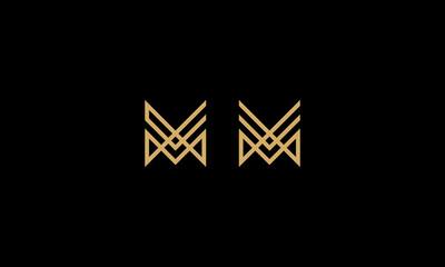 initial M line geometric logo icon vector
