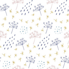 Modern seamless floral pattern with abstract dots and shapes. Good for printing. Vector wallpaper.