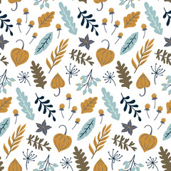 Modern seamless floral pattern. Autumn leaves print design. Good for printing. Vector wallpaper.