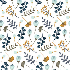 Fototapeta Modern seamless pattern with leaves, flowers and floral elements. Autumn pattern design. Good for printing. Vector wallpaper. obraz