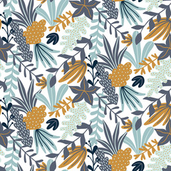 Modern seamless pattern with leaves and floral elements. Autumn pattern design. Good for printing. Vector wallpaper.