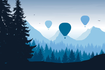 Vector illustration of mountain landscape with forest, flying hot air balloons and birds in blue sky
