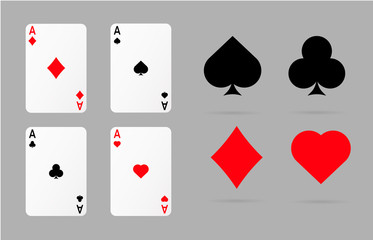 playing  cards and poker symbols set