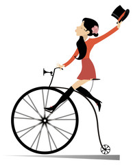 Attractive young woman holds a top hat in the hand rides a vintage bike isolated on white illustration