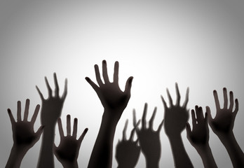 Silhouette of hands up,blur image