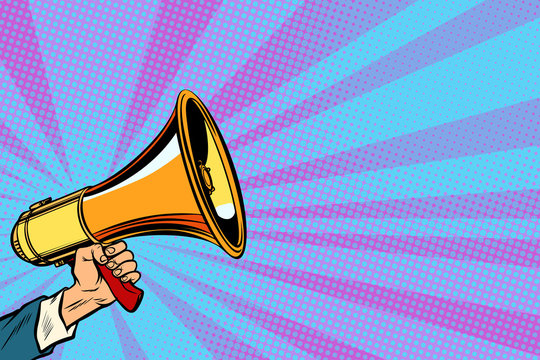 businessman hand holding a megaphone