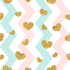 Gold heart seamless pattern. Pink-blue-white geometric zig zag, golden confetti-hearts. Symbol of love, Valentine day holiday. Zigzag design wallpaper, background, texture. Vector illustration