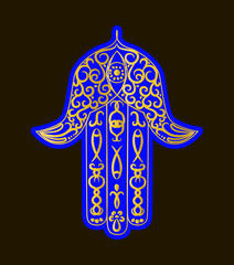 Hand drawn Ornate amulet Hamsa Hand of Fatima