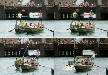 Combo shows participants using lances to push each other from their boats during the traditional Schifferstechen event in Zurich