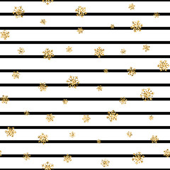 Christmas gold snowflake seamless pattern. Golden glitter snowflakes on black white lines background. Winter snow texture design wallpaper Symbol holiday, New Year celebration. Vector illustration
