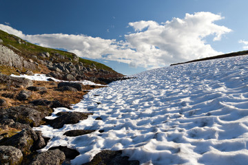 Last year's snow in the tundra against the sun