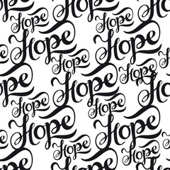 Seamless pattern with lettering Hope.