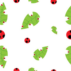 Seamless vector background leaf and ladybug