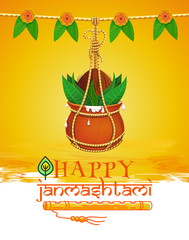 Greeting card for Krishna Janmashtami. Indian festival of janmashtami celebration. Dahi Handi. Janmashtami design with pot of yoghurt, peacock feather and flute. Vector illustration