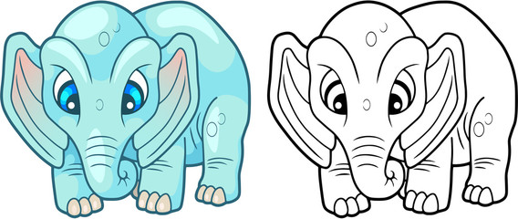 cartoon cute little elephant, design funny illustration