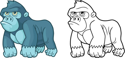 cartoon cute little gorilla, design funny illustration