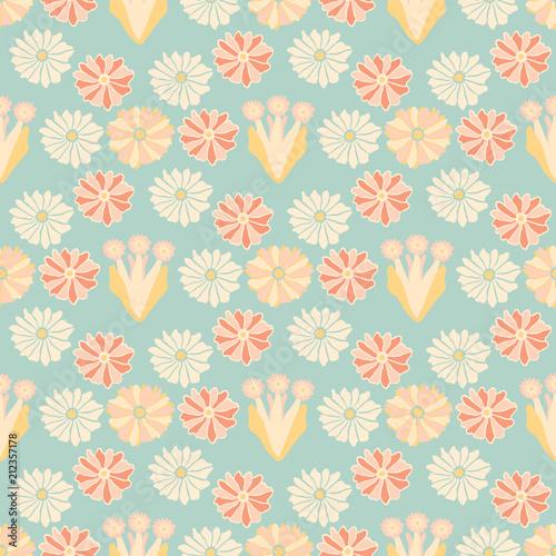 Soft Pastel Vintage Floral, Seamless Vector Pattern, Hand