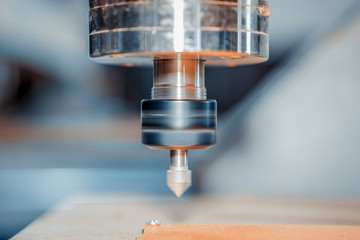 Closeup of a spindle with a milling cutter.