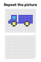 Game for preschool children. Repeat the picture. Paint the circles. transport truck