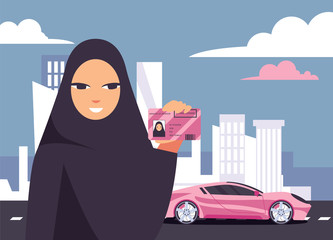 Lovely arab woman in hijab holding her driving licence