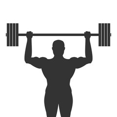 Silhouette of bodybuilder with barbell in his hands. Vector illustration.