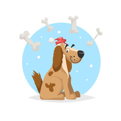 Happy funny dog wearing Santa's hat with lot of bones. Chinese 2018 new year symbol. Best for seasonal party posters and banners. Cartoon vector illustration.