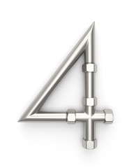 Alphabet made of Metal pipe, number 4. 3D illustration