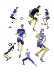 Abstract soccer players in blue shirts painted in watercolor on white isolated background