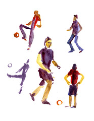 Soccer players with the ball, football players in the form of different colors painted in watercolor on a white background for football design.