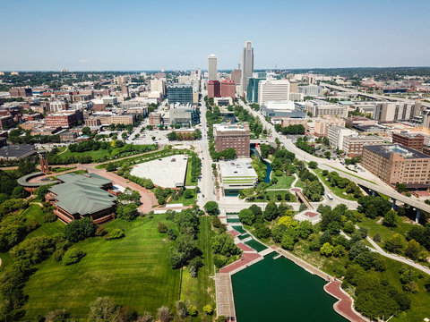 Aerial Photo of Omaha Skyline and Parks
