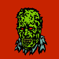 Anger head of zombie. Vector illustration.