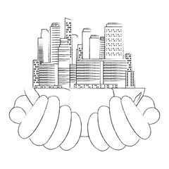 hands lifting half world with buildings vector illustration design