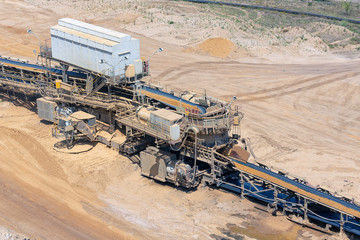 Brown coal open pit landscape with machinery conveyor belt in Garzweiler mine Germany
