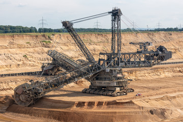 Brown coal open pit landscape with enormous digging excavator in Hambach mine Germany, This machine is the biggest vehicle in the world