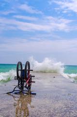 Odesa beach with waves in Ukraine