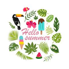 Hello summer. tropical welcome design. vector illustration