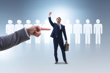 Recruitment and employment concept with selected employee