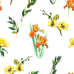 Floral seamless pattern with yellow orchid, orange iris and twigs. Art by markers. Imitation of watercolor drawing.