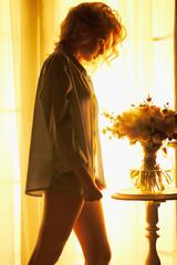 Acrylic Prints womenART Sensual blonde at the window