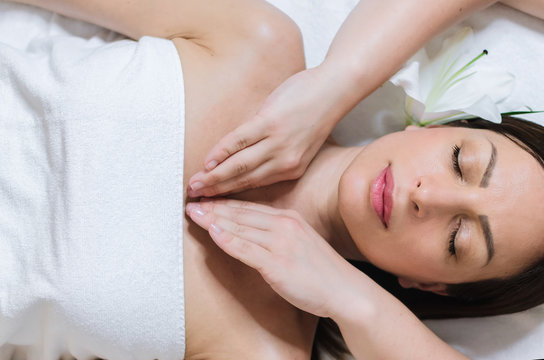 Chest massage at spa salon